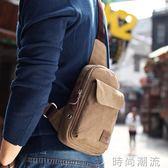 男士腰包胸包男單肩包韓版帆布斜背包男士包包休閒運動學生小背包 時尚潮流