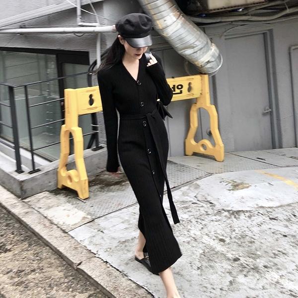 出清388 韓國風優雅針織慵懶風簡約長裙長袖洋裝