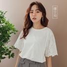 MIUSTAR 甜美!蕾絲鏤空短袖棉質上衣(共2色)【NJ1163】預購