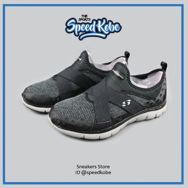 SKECHERS FLEX APPEAL 2.0 灰黑網布 繃帶 記憶鞋墊 慢跑鞋 女 12752WBKGY ☆SP☆