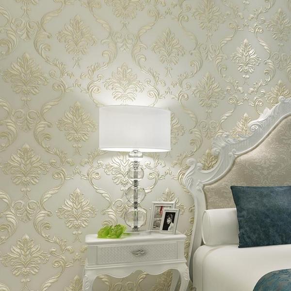 牆紙歐式大馬士革奢華壁紙客廳臥室電視背景牆無紡布立體3d浮雕牆紙 喵小姐