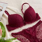 浪漫維也納‧性感蕾絲無鋼圈深V爆乳集中款(棗紅色) 70B~85C Choco Shop