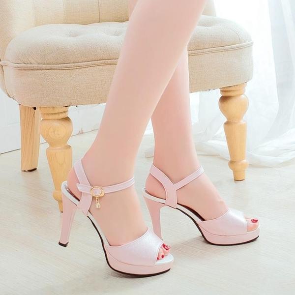 魚口鞋 魚嘴鞋 高跟 2020新款chic涼鞋女夏季韓版時尚魚嘴少女高跟鞋女鞋子細跟一字扣