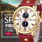 CURREN 鏤空指針仿三眼圓盤 型男錶 夜光指針 亮框大錶面 皮革錶帶 運動手錶 7色 【KIMI store】