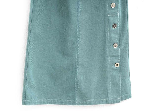 單一優惠價[H2O]側邊開衩修身小A字牛仔長裙 - 綠/粉/淺藍色 #9682013