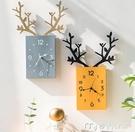 掛鐘掛鐘客廳北歐簡約時鐘電子鐘掛墻家用鐘飾創意鹿頭掛錶餐廳裝飾鐘YYS 快速出貨