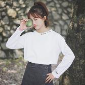 秋季新款正韓字母T恤純白色長袖T恤女裝寬鬆打底衫上衣