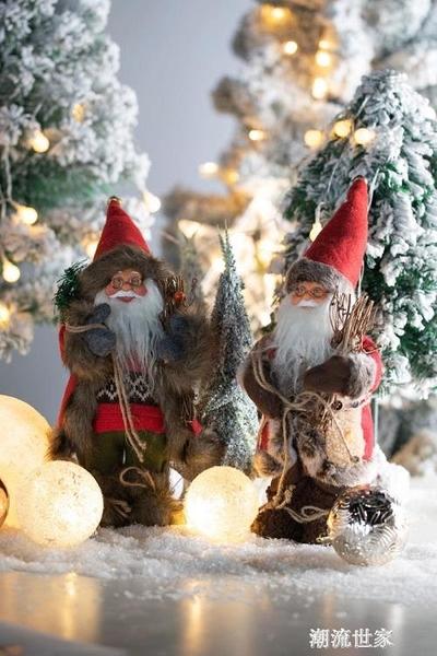 聖誕老人公仔娃娃仿真聖誕節裝飾品創意擺件玩具可愛場景櫥窗布置『潮流世家』