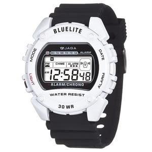 JAGA 捷卡 電子錶 防水手錶 冷光照明/夜光 男錶 學生錶 兒童手錶 運動錶 M175-AD 黑白