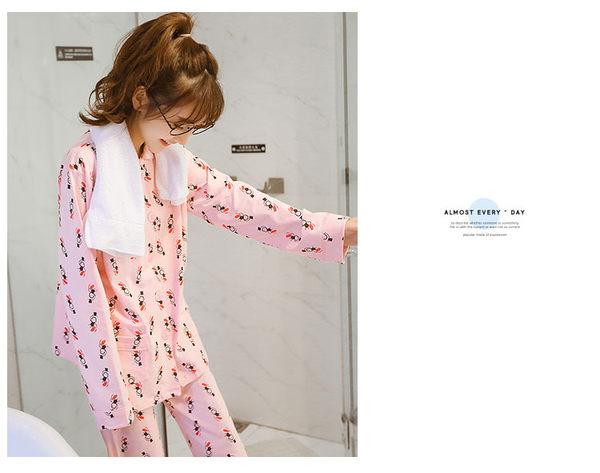 小猴子卡通甜美长袖睡衣套装 纯棉舒适家居服 -wow0028