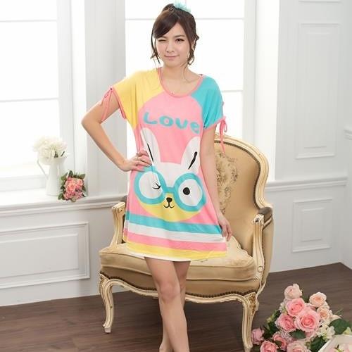 眼鏡小兔 棉質一件式睡衣(天使白)
