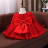 女童洋裝公主裙秋冬洋氣加絨兒童禮服周歲寶寶紅色洋裝蓬蓬紗裙嬰兒【快速出貨八折搶購】