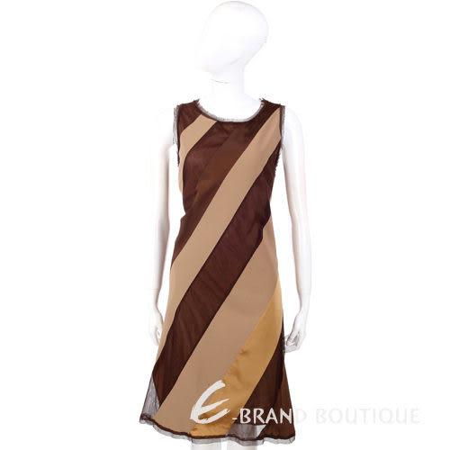 Lorella Braglia 咖啡/駝色斜紋拼接無袖洋裝 0510657-02