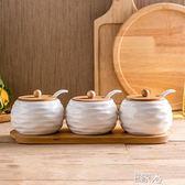 陶瓷調味瓶陶瓷竹木架調味罐/E家人