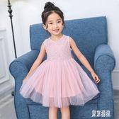 六一兒童節女童夏裝連身裙中長款洋裝蕾絲蝴蝶結蓬蓬紗裙生日禮服 LJ3657『東京潮流』