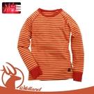 【Wildland 荒野 童 遠紅外線彈性條紋衣《橘紅》】0A12683/休閒衫/條紋/彈性/保暖衣