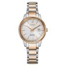 【台南 時代鐘錶 CITIZEN】星辰 光動能 PAIR 對錶 日期 光動能 鋼錶帶女錶 EW2596-89A 白/玫瑰金 29mm