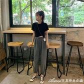 套裝2021年新款女純色簡約短款學生圓領T恤高腰顯瘦九分褲 快速出貨
