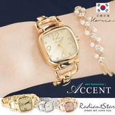 正韓ACCENT輕舞飛揚金屬小方質感氣質鍊帶錶 手錶【WAC1016】璀璨之星☆