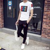 男士套裝夏季2019新款潮流韓版時尚短袖男休閒夏天帥氣運動兩件套  圖拉斯3C百貨
