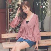 東京著衣【YOCO】柔情香頌布蕾絲V領棉質喇叭袖上衣-S.M.L(181533)
