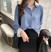滿額免運【JAN9709】現貨 韓國女裝 韓妞最愛 可哺乳可當襯衫外套 蕾絲拼接雪紡襯衫-藍