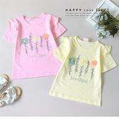 純棉 質感立體小花手繪上衣 春夏童裝 女童上衣 女童短T 女童棉T 女童短袖 女童T恤