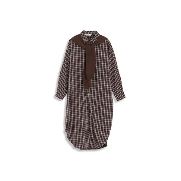 Queen Shop【01084788】方格紋襯衫領附披肩洋裝 兩色售*現+預*