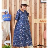 【Tiara Tiara】百貨同步新品ss 花草印花v領洋裝(藍/黃)