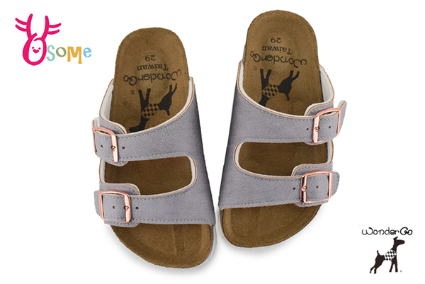 Wonder Go 拖鞋 中童 舒適牛皮 台灣製 休閒拖鞋 F5302#紫色◆OSOME奧森鞋業