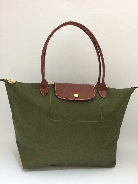 LONGCHAMP 摺疊水餃包 L長帶 橄欖綠色/軍綠色 肩背水餃包(大款)
