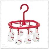 ♥小花花日本精品♥ Hello Kitty 日本限定 水玉點點 臉頭造型 萬用衣夾 曬衣夾 56799804