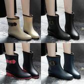 時尚韓國雨鞋女成人雨靴女士馬丁膠鞋中筒水靴防潑水鞋短筒防滑套鞋 【全館85折最後兩天】