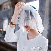 頭紗 甜美森林繫小清新短款新娘旅拍婚紗頭紗軟網蝴蝶結頭飾 coco衣巷