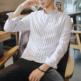 秋季男士長袖襯衫韓版修身寸衫潮流條紋帥氣襯衣百搭秋裝男裝衣服