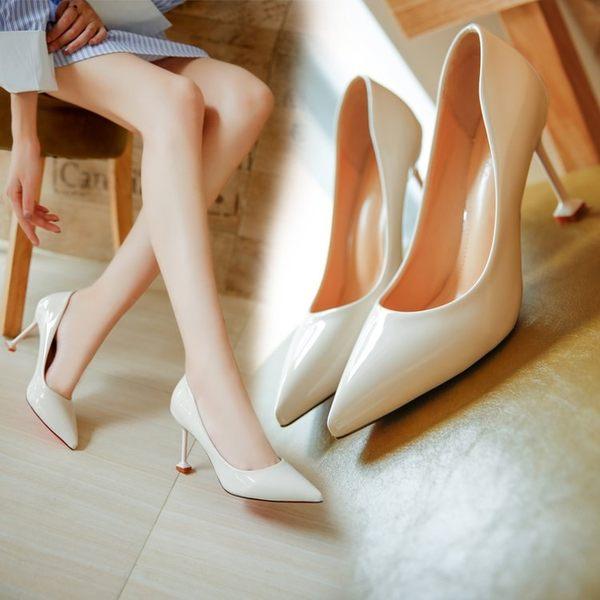 百搭女士鞋子淺口尖頭性感細跟高跟鞋漆皮貓跟鞋單鞋 糖果時尚
