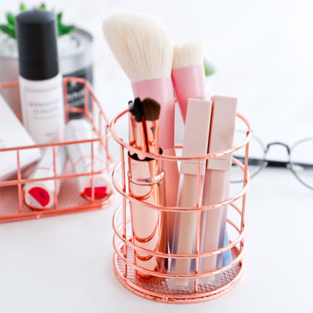 玫瑰金萬用收納籃(圓柱筒) 雜物籃 收納架 置物桶 置物籃 筆筒 刷具 桌面 收納 化妝品 雜物 整理