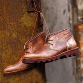 中筒靴真皮-綁帶秋冬新款復古帥氣男靴子2色73kk5[巴黎精品]