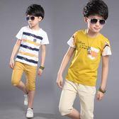 夏季新款韓版運動純棉短袖兒童兩件套裝 QQ273『優童屋』