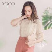 東京著衣【YOCO】微甜日常蕾絲拼接泡泡袖綁帶上衣-S.M.L(180404)