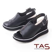 TAS小v剪裁寬繫帶配色厚底楔型涼鞋-個性黑