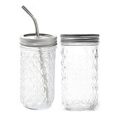 加購蓋子 梅森瓶【H0261】菱格 鑽石瓶 果汁 玻璃杯 水杯 茶杯 環保杯 玻璃密封罐 奶昔果汁飲料杯