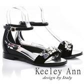 ★2018春夏★Keeley Ann高雅出眾~亮澤水鑽腳踝釦帶真皮平底涼鞋(黑色) -Ann系列