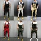 新品特惠# 外貿跨境男士背帶褲亞馬遜新款時尚男士牛仔褲長褲背帶吊帶褲潮