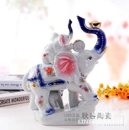 陶瓷母子大象 景德鎮青花動物工藝品 吸財納福