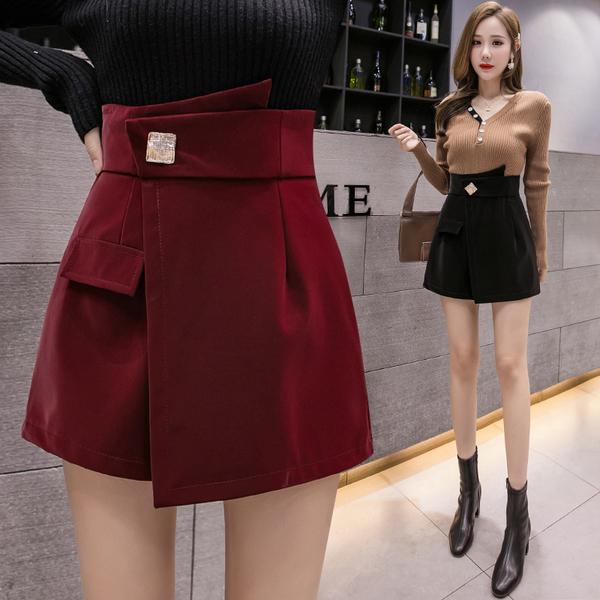 VK精品服飾 韓國風修身PU皮褲裙高腰顯瘦褲裙單品短褲