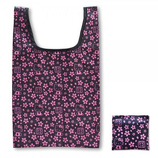 小禮堂 Hello Kitty 和風折疊尼龍環保購物袋 環保袋 側背袋 手提袋 (黑粉 櫻花) 4991567-26771