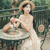 洋裝吊帶裙 中長款溫柔裙超仙收腰冷淡風裙子顯瘦棉麻連裙 巴黎春天