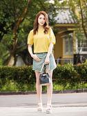 單一優惠價[H2O]前片可兩穿開襟牛仔短褲裙 - 綠/藍/白/粉色 #9688001