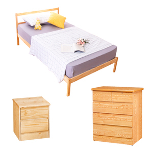 【YFS】頂級松木單人床架收納三件組(床架+床頭櫃+斗櫃)